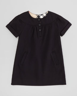 Burberry Girls' Button-Front Dress, Black, 4Y-10Y