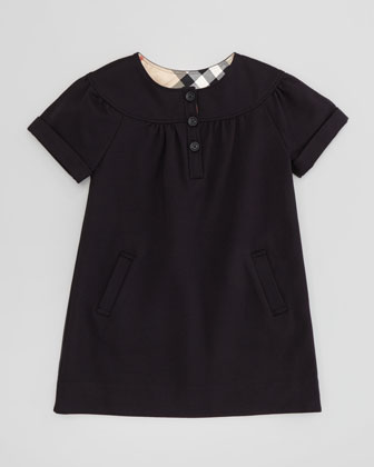 Girls' Button-Front Dress, Black, 4Y-10Y