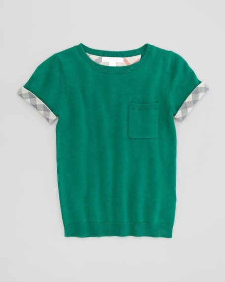 Girls' Knit Check-Cuff Pocket Tee, Green, 4Y-10Y