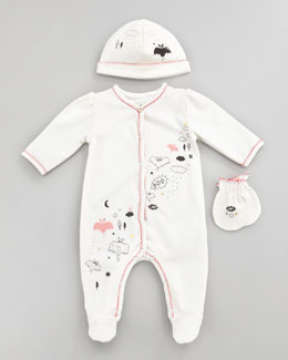 Little Marc Jacobs Newborn Girls' Spooky Footie, Hat & Mittens Gift Set