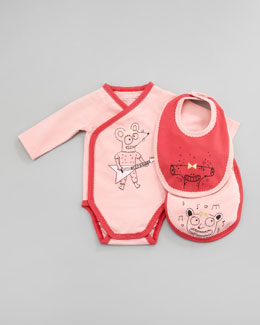 Little Marc Jacobs Long-Sleeve Mouse Guitarist  Playsuit & Bib Set, 3-12 Months