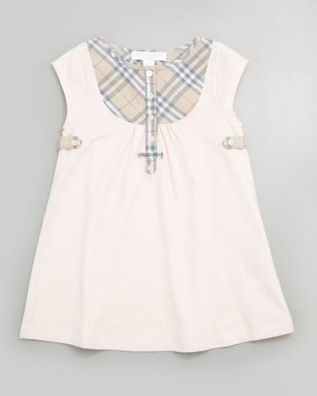 Newborn Check-Bib Dress, Ice Pink