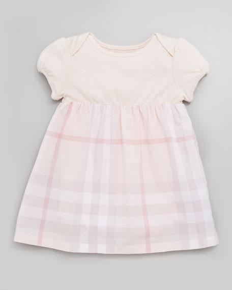 Knit/Check Combo Dress, Ice Pink