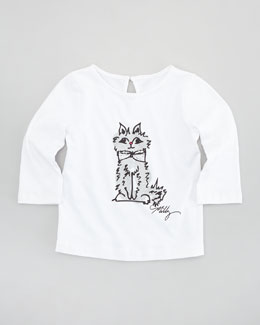 Milly Minis Milly Kitty Three-Quarter-Sleeve Tee