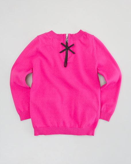 Bow Knit Pullover Sweater, Pink, Sizes 2-6