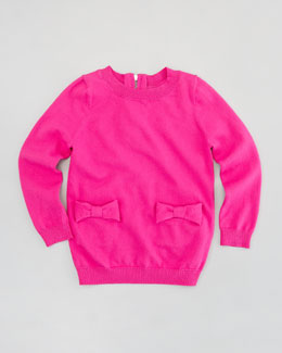 Milly Minis Bow Knit Pullover Sweater, Pink, Sizes 2-6