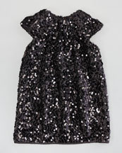 Milly Minis Daisy Cap-Sleeve Sequin Dress, Black, Sizes 2-6