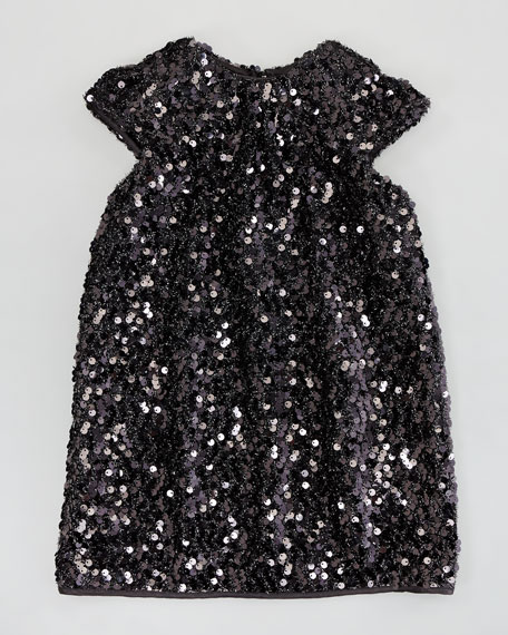 Daisy Cap-Sleeve Sequin Dress, Black, Sizes 2-6
