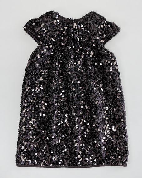 Daisy Cap-Sleeve Sequin Dress, Black, Sizes 2-6