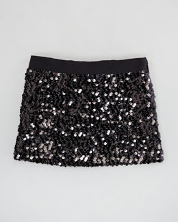 Milly Minis Sequin Miniskirt, Black, Sizes 2-6