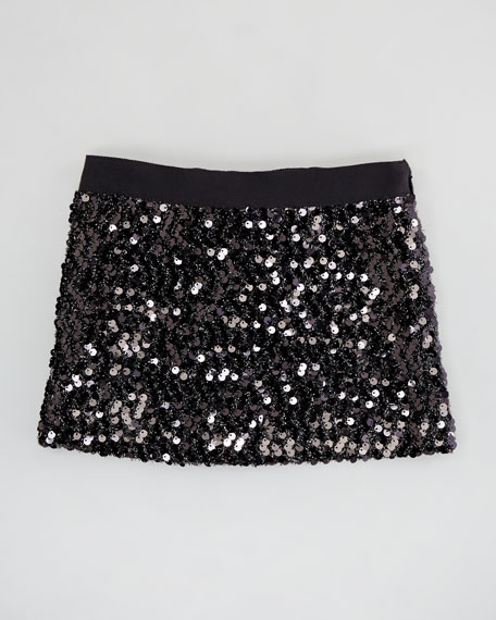 Sequin Miniskirt, Black, Sizes 2-6