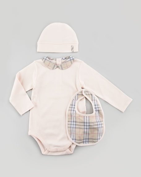 New Born Check Playsuit, Bib & Hat Set, Ice Pink