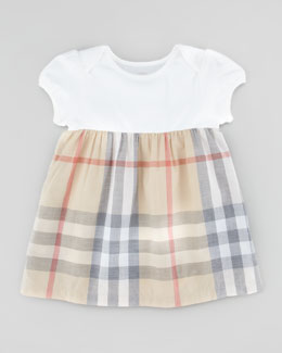 Infant Girls' Check Dress, Pale Trench Check