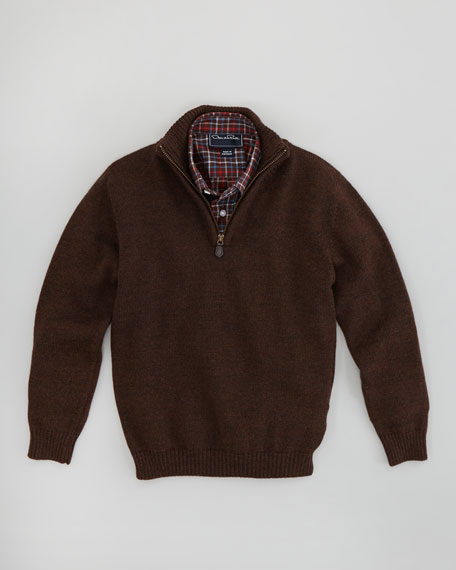 Boys' Merino Half-Zip Pullover Sweater, Brown