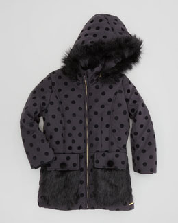 Little Marc Jacobs Faux-Fur Dot Jacket, Black, Sizes 2-5