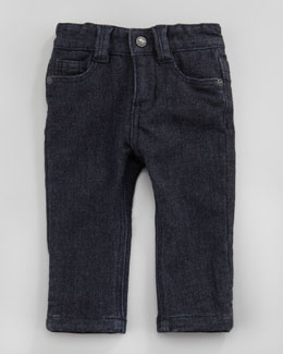 Little Marc Jacobs Denim Jeans with Flannel Lining, Blue, 3-12 Months