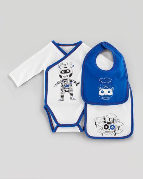 Long-Sleeve Astronaut Playsuit & Bib Set, Off White, 3-12 Months