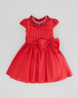 David Charles Rosette-Collar Silk Dress, Red, Sizes 2-6Y
