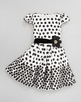 David Charles Floral-Applique Dress, Ivory/Black, Sizes 2Y-10Y