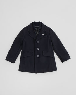 Armani Junior Wool & Nylon Pea Coat, Blue, 2Y-8Y