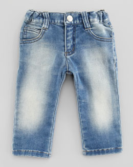 Armani Junior Blue Stone-Wash Denim Jeans, 3-24 Months