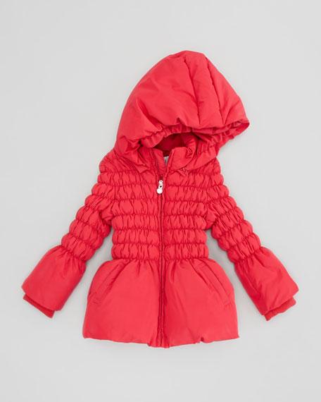 Cinched Puffer Jacket, Red, 2Y-8Y