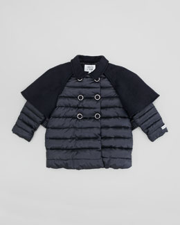 Armani Junior Cape Dress Coat, Navy Blue, 2Y-8Y