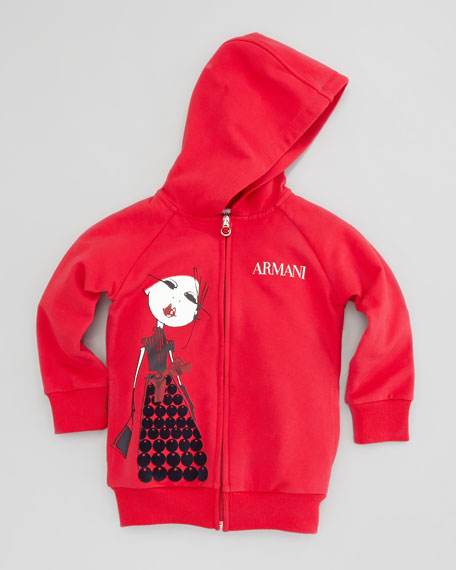 Armani-Girl Zip-Up Hoodie, Red