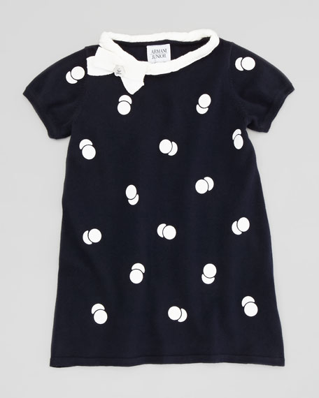 Polka-Dot Short-Sleeve Dress, Blue, Sizes 2-8