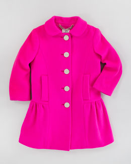 Milly Minis Zoey Peplum Coat, Shock Pink, Sizes 8-10
