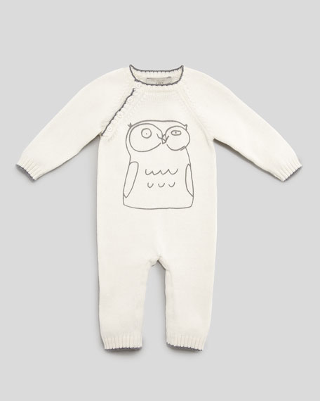 Tommy Owl Knit Playsuit, Cream, 3-24 Months