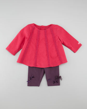 Pleated Long-Sleeve Shirt, Azalee/Red, 3-18 Months