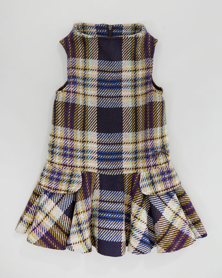Plaid Sleeveless Dress, Purple, Sizes 2-6