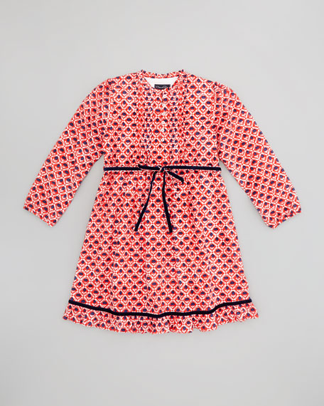 Girls' Pleated Tunic Dress, Red