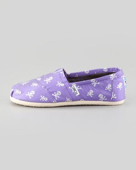 Purple Sparkle Skulls Slip-On, Youth