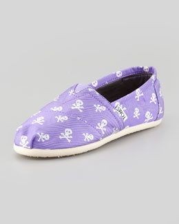 TOMS Purple Sparkle Skulls Slip-On, Youth
