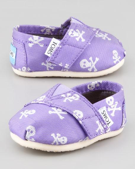 Purple Grosgrain-Skull Slip-On, Tiny