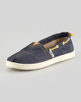 TOMS Youth Denim Skull & Crossbones Slip-On
