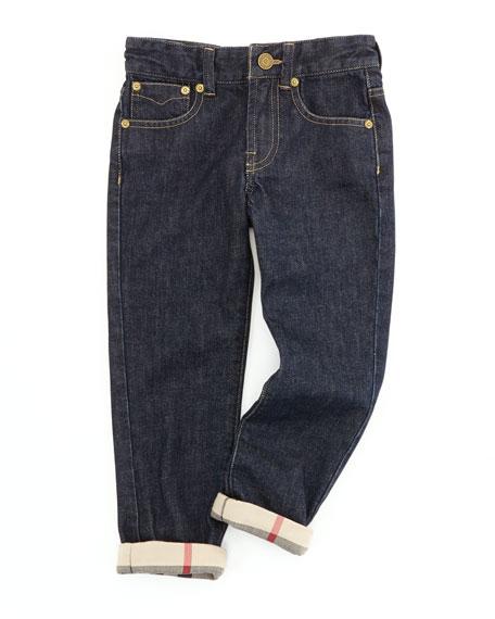 Burberry Boys' Check-Cuff Jeans, Indigo, 4Y-10Y