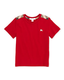 Check-Shoulder Tee, Red, 4Y-10Y