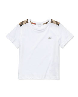 Check-Shoulder Tee, White, 4Y-10Y