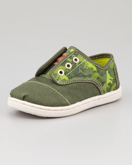 TOMS Tiny Animal-Camo-Print Cordones Shoe, Green