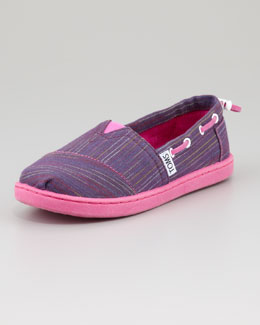 TOMS Youth Multi-Color-Stripe Bimni Boat Shoe, Purple