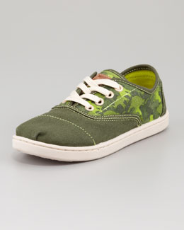 TOMS Youth Animal-Camo-Print Cordones, Green