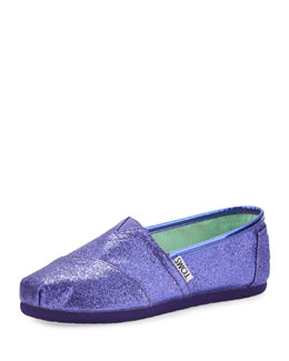 TOMS Purple Glitter Slip-On Shoe, Youth
