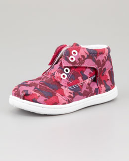 TOMS Tiny Animal-Camo-Print Botas Shoe, Pink
