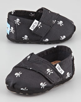 TOMS Tiny Skull-Print Slip-On Shoes, Black