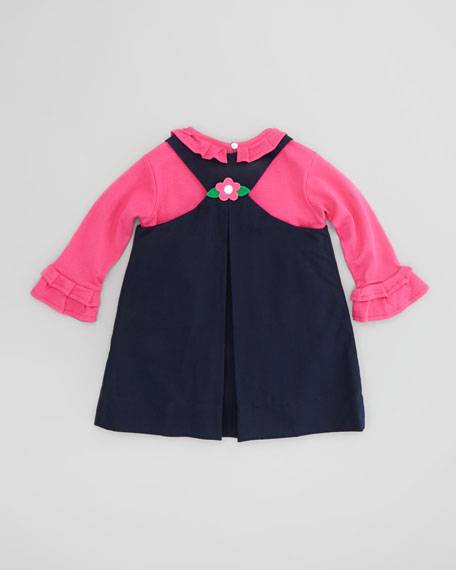 Dress with Flower Appliques, Navy Blue