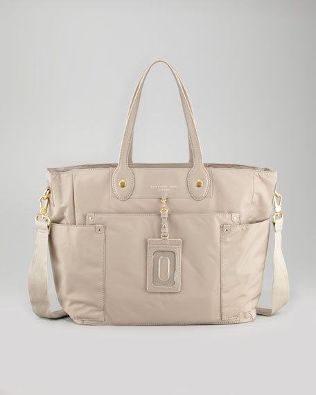 Preppy Nylon Eliz-A-Baby Diaper Bag, Cement