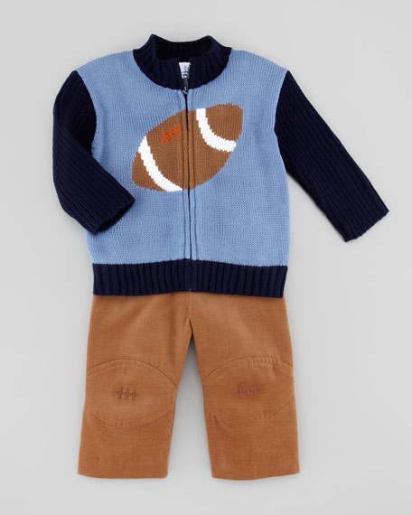 Football Knit Zip-Front Sweater, Blue/Navy, 12-24 Months